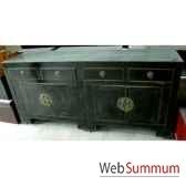 buffet 4 portes et 4 tiroirs noir style chine chn036n
