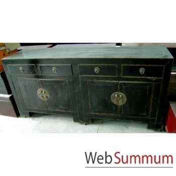 Buffet 4 portes et 4 tiroirs noir style Chine -CHN036N