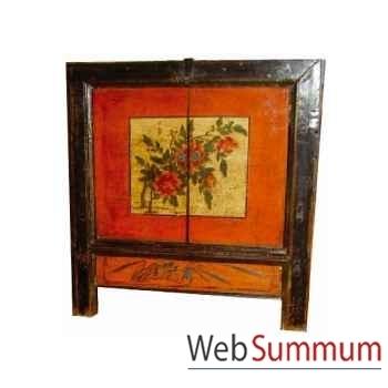 Petit Buffet mongol peint 2 portes et 1 tiroir style Chine -CHN042