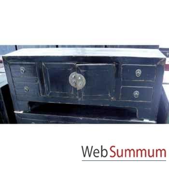 Buffet bas 2 portes et 4 tiroirs noir style Chine -CHN055N
