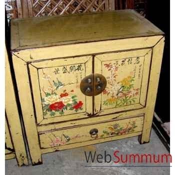 Buffet petit modèle 2 portes et 1 tiroir crème motif oiseaux style Chine -CHN233