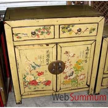 Buffet 2 portes et 2 tiroirs crème motif oiseaux style Chine -CHN234