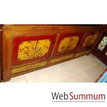 Buffet vieux mongol 4 portes et 4 tiroirs style Chine -CHN239