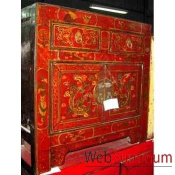 Buffet rouge peint style Chine -CHN245