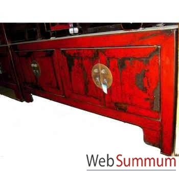 Buffet bas 4 portes rouge laqué style Chine -CHN246