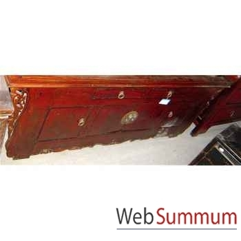 Buffet à ailette rouge laqué style Chine -CHN247