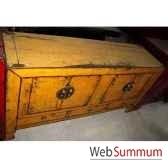 buffet 4 portes et 3 tiroirs jaune laque style chine chn249