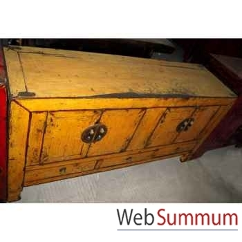 Buffet 4 portes et 3 tiroirs jaune laqué style Chine -CHN249