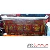 buffet pagode 2 tiroirs 4 portes avec fleurs style chine chn252