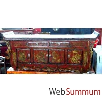 Buffet pagode 2 tiroirs 4 portes avec fleurs style Chine -CHN252