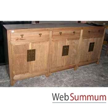 Buffet ren 6 portes et 3 tiroirs style Chine -C0581NAT