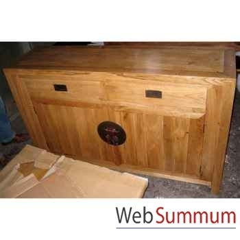 Buffet ren art deco 2 portes et 2 tiroirs style Chine -C0583NAT