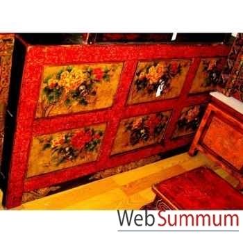 Buffet 6 tiroirs fleurs tibetain style Chine -C0616