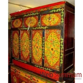Buffet tibetain 4 portes et 3 tiroirs style Chine -C0639