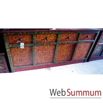 Buffet tibetain 4 portes et 4 tiroirs style Chine -C0641
