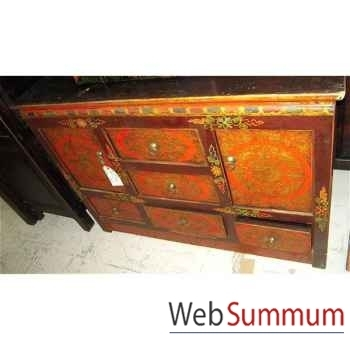 Buffet tibetain 2 portes et 5 tiroirs style Chine -C0646