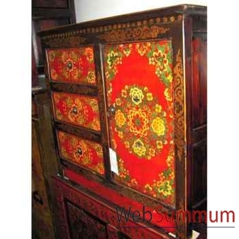 Buffet tibetain 1 porte 3 tiroirs style Chine -C0647