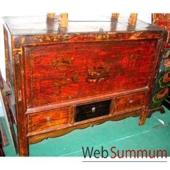 Buffet 2 portes et 3 tiroirs mongol ancien style Chine -C0703