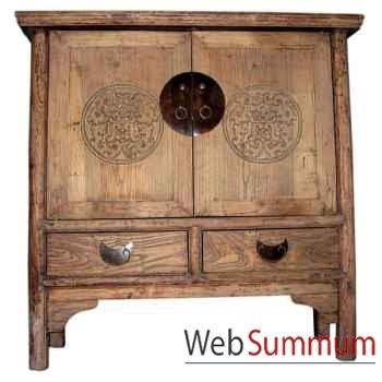 Buffet 2 portes et 2 tiroirs décapé ancien style Chine -C0722