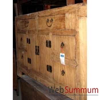 Buffet 2 portes et 6 tiroirs décapé ancien style Chine -C0723