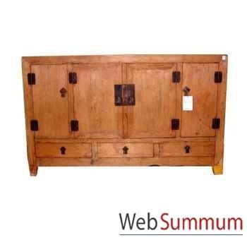 Buffet 4 portes et 3 tiroirs décapé ancien style Chine -C0724