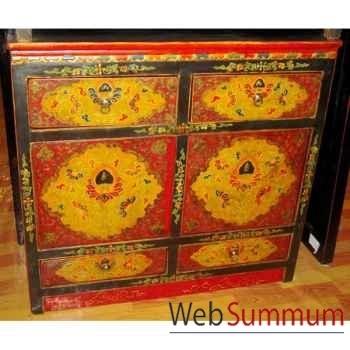 Buffet 4 portes et 2 tiroirs tibétain style Chine -C0871