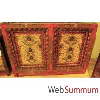 Buffet 2 portes et cadre sculpté style Chine -C0883