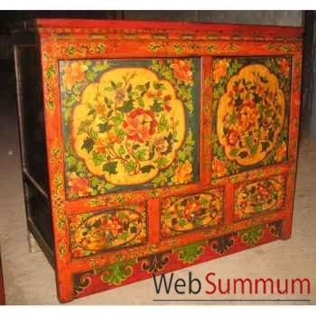 Buffet 2 portes et 3 tiroirs tibetain style Chine -C0898