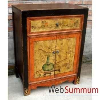 Buffet 2 portes et 1 tiroir mongol polychrome style Chine -C0905
