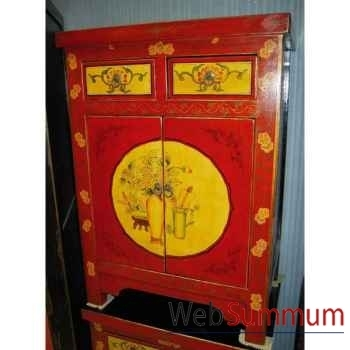 Buffet 2 portes et 2 tiroirs dessin gansu style Chine -C0947