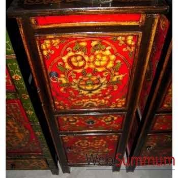 Meuble 2 portes et 1 tiroir tibetain jaune style Chine -C3012