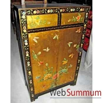 Armoirette 2 portes et 2 tiroirs doré papillons style Chine -C3015