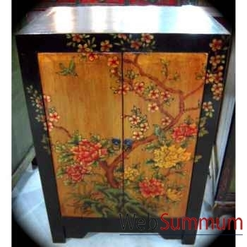 Armoirette 2 portes doré fleurs style Chine -C3027