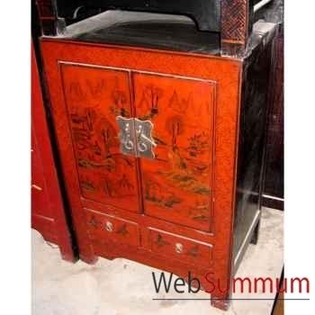 Armoirette 2 portes et 1 tiroir rouge style Chine -CHN014R