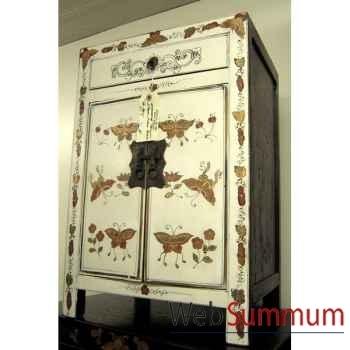 Armoirette 2 portes et 1 tiroir papillon laqué blanc style Chine -CHN015BL