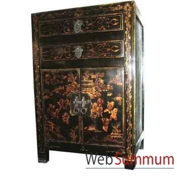 Armoirette 2 portes et 1 tiroir laque noire fleurs style Chine -CHN015N