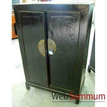 Armoirette 2 portes sur socle noire style Chine -CHN222-N