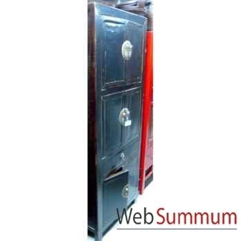 Armoire 6 portes et 1 tiroir laqué noire style Chine -CHN229-N