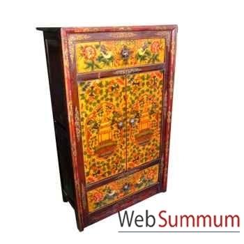 Armoirette 2 portes et 2 tiroirs tibetain style Chine -C0387
