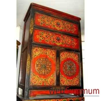Armoirette 2 portes et 2 tiroirs tibetain style Chine -C0873
