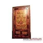 armoire 2 portes et 2 tiroirs tibetain cadre sculpte style chine c0879
