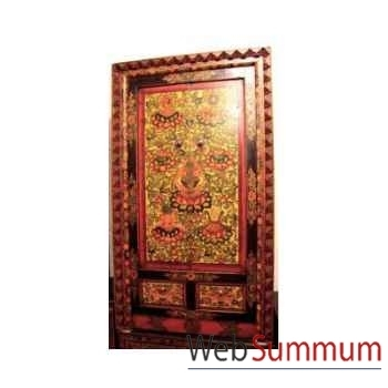 Armoire 2 portes et 2 tiroirs tibetain cadre sculpté style Chine -C0879