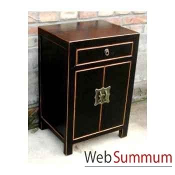 Armoirette 2 portes et 1 tiroir laqué noire craquelée style Chine -C0904N