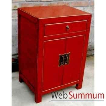 Armoirette 2 portes et 1 tiroir laqué rouge craquelée style Chine -C0904R