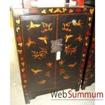 Armoirette 2 portes noire style Chine -C0928N