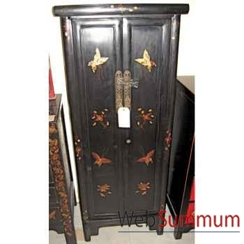 Armoirette 2 portes noire papillon style Chine -C0930N
