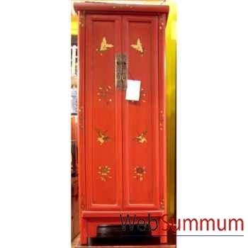 Armoirette 2 portes rouge style Chine -C0930R