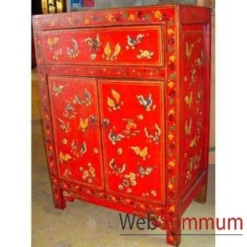 Armoirette 2 portes et 1 tiroir papillon rouge style Chine -C0933R