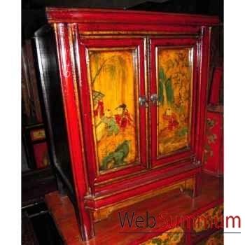 Chevet 2 portes peint style Chine -C3008