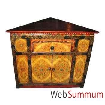 Encoignure 2 portes et 1 tiroir tibet style Chine -C0336